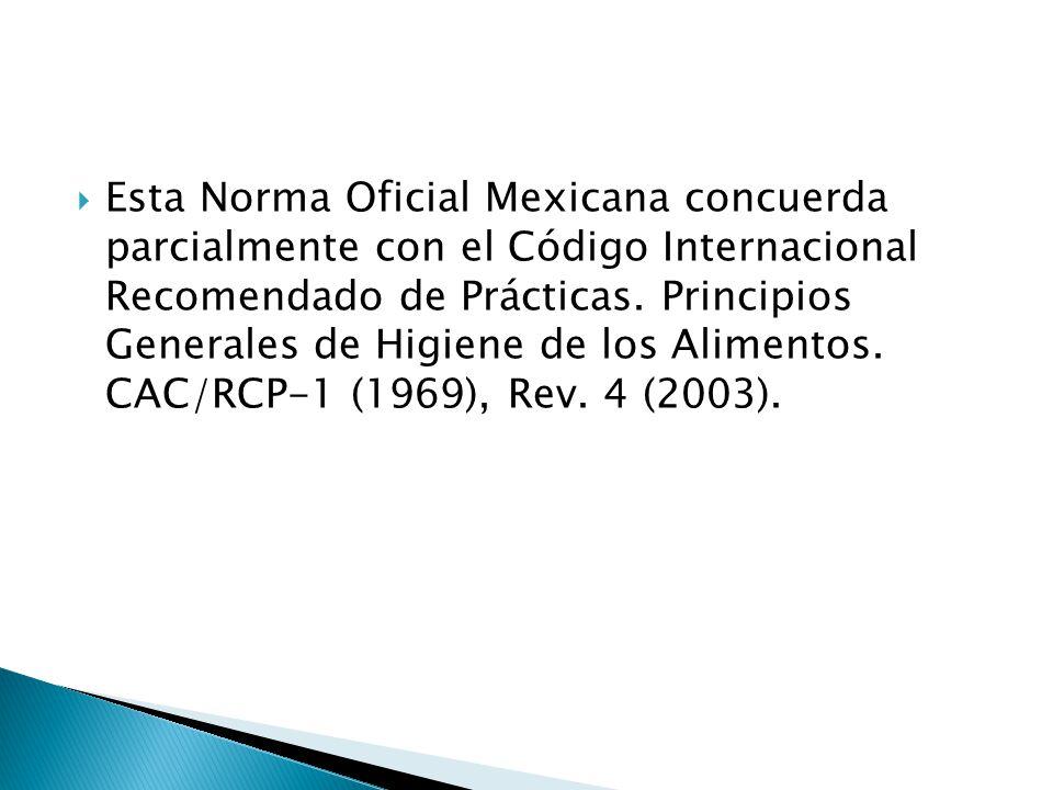 Esta Norma Oficial Mexicana concuerda parcialmente con el Código Internacional Recomendado de Prácticas.