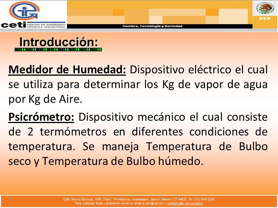 Introducción: Medidor de Humedad: Dispositivo eléctrico el cual se utiliza para determinar los Kg de vapor de agua por Kg de Aire.