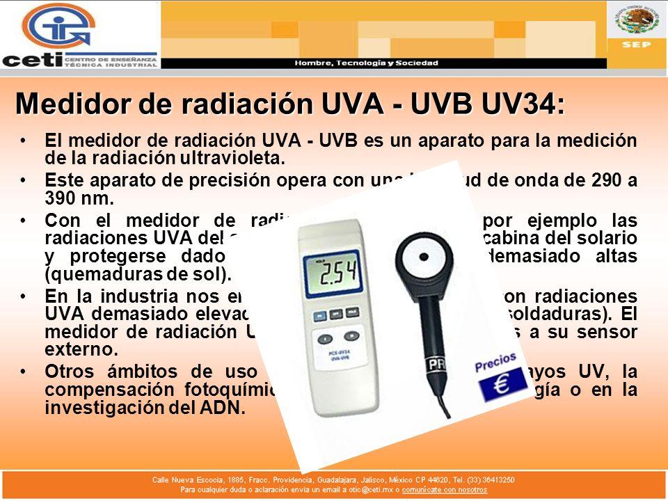 Medidor de radiación UVA - UVB UV34: