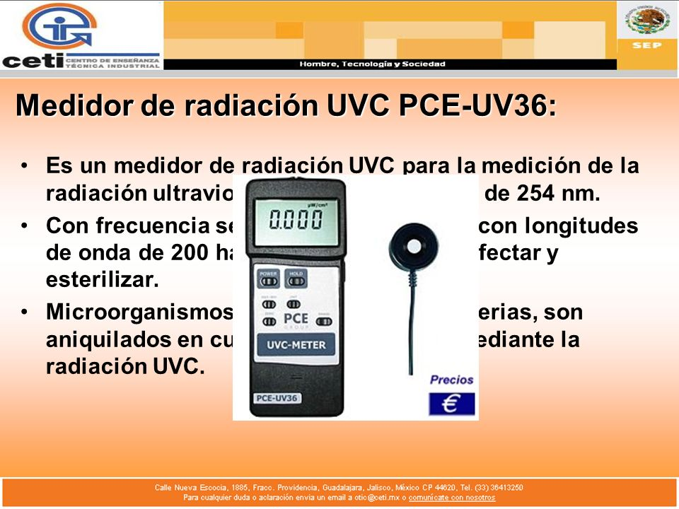 Medidor de radiación UVC PCE-UV36: