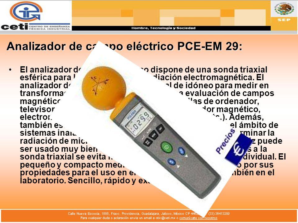 Analizador de campo eléctrico PCE-EM 29: