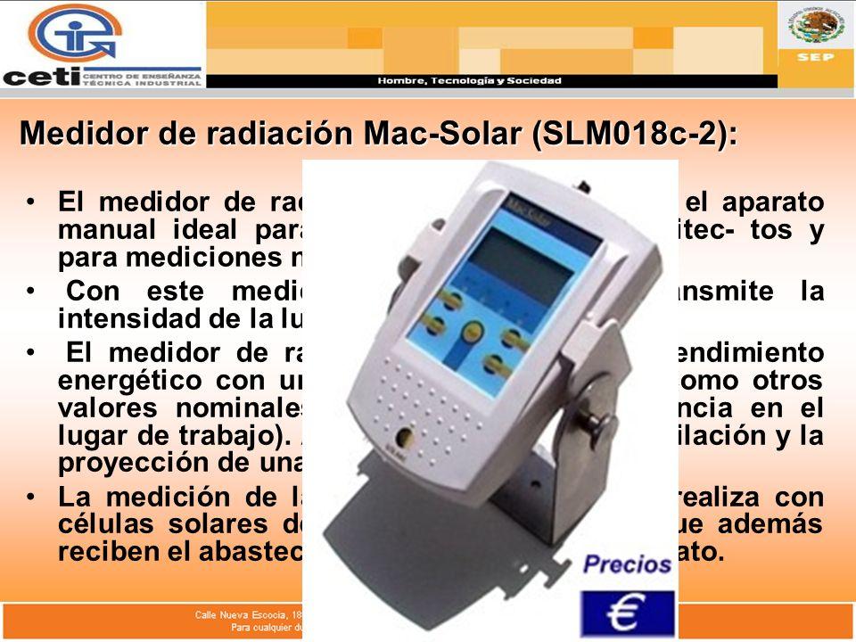 Medidor de radiación Mac-Solar (SLM018c-2):