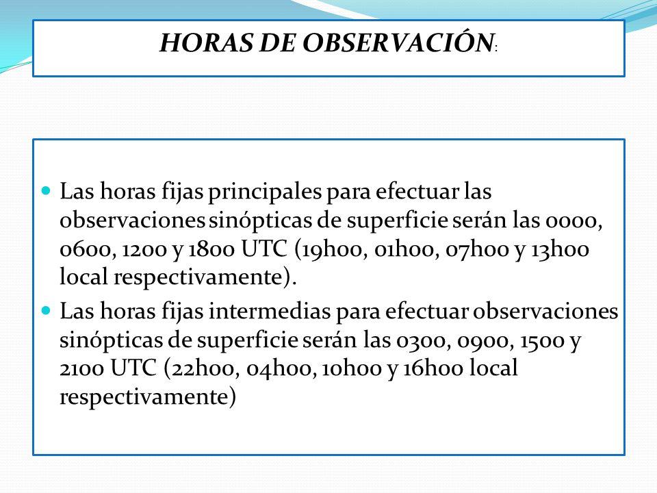 HORAS DE OBSERVACIÓN: