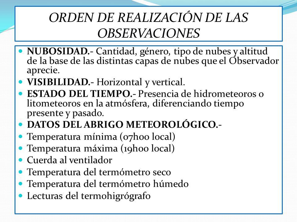 ORDEN DE REALIZACIÓN DE LAS OBSERVACIONES