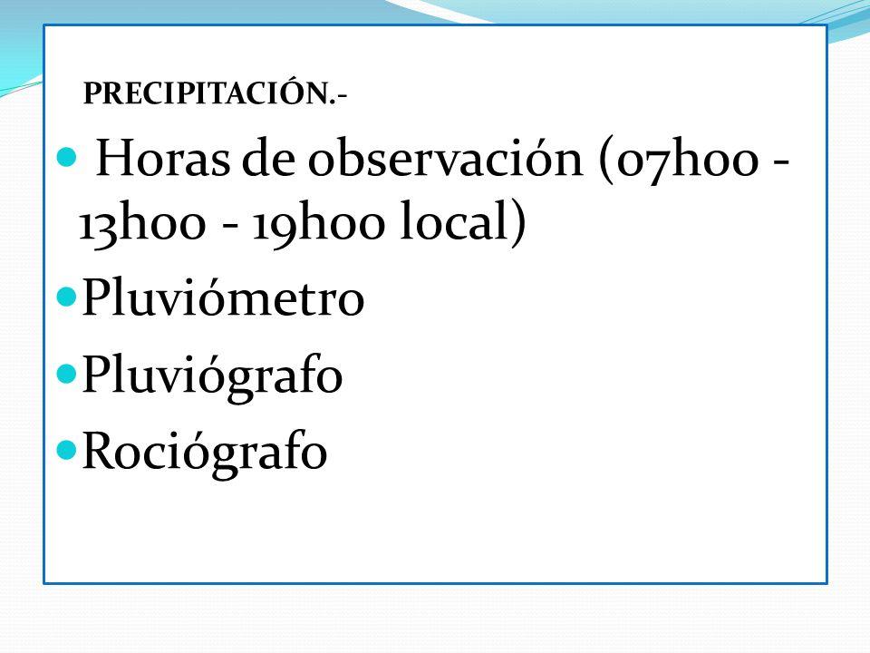 Horas de observación (07h00 - 13h00 - 19h00 local) Pluviómetro