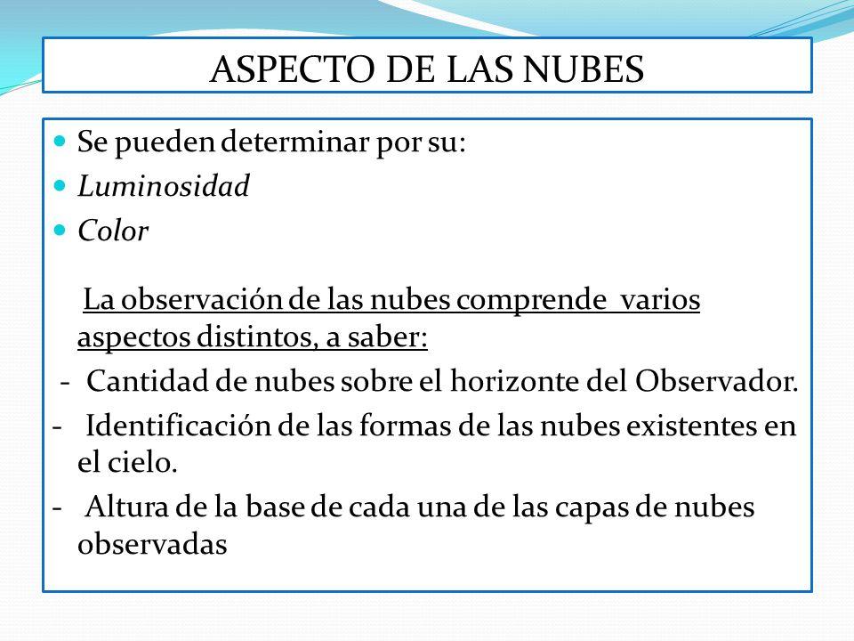 ASPECTO DE LAS NUBES Se pueden determinar por su: Luminosidad Color