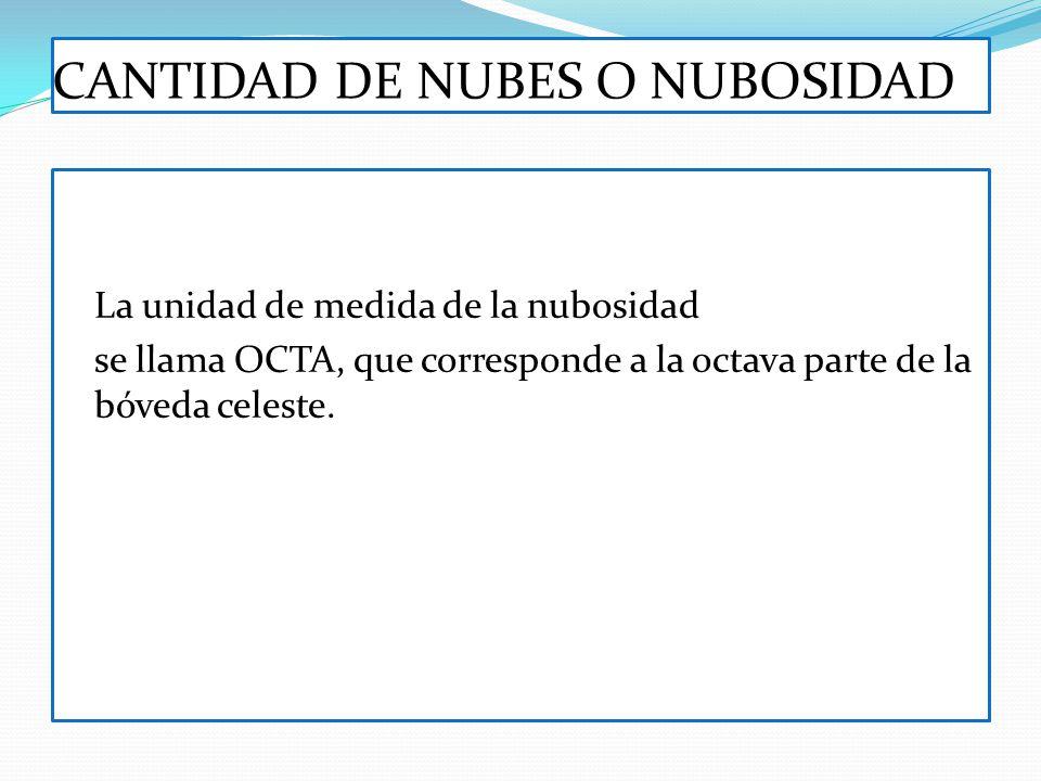 CANTIDAD DE NUBES O NUBOSIDAD