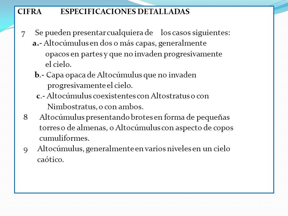 CIFRA ESPECIFICACIONES DETALLADAS 7 Se pueden presentar cualquiera de los casos siguientes: a.- Altocúmulus en dos o más capas, generalmente opacos en partes y que no invaden progresivamente el cielo.