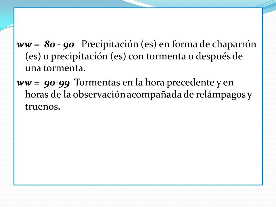 ww = 80 - 90 Precipitación (es) en forma de chaparrón (es) o precipitación (es) con tormenta o después de una tormenta.