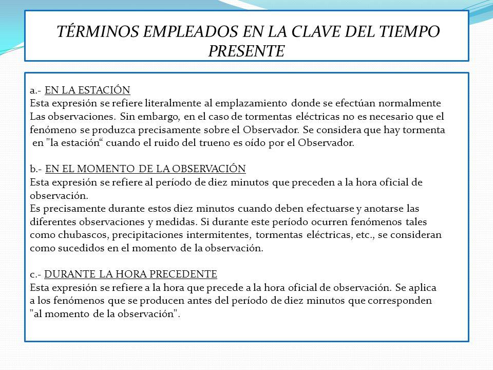 TÉRMINOS EMPLEADOS EN LA CLAVE DEL TIEMPO PRESENTE