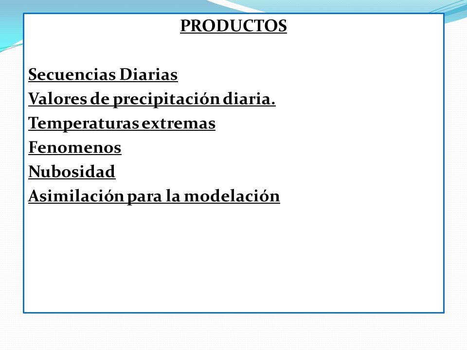 PRODUCTOS Secuencias Diarias Valores de precipitación diaria