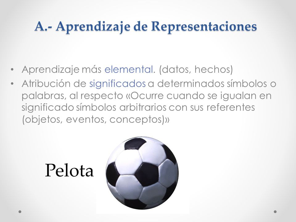 A.- Aprendizaje de Representaciones