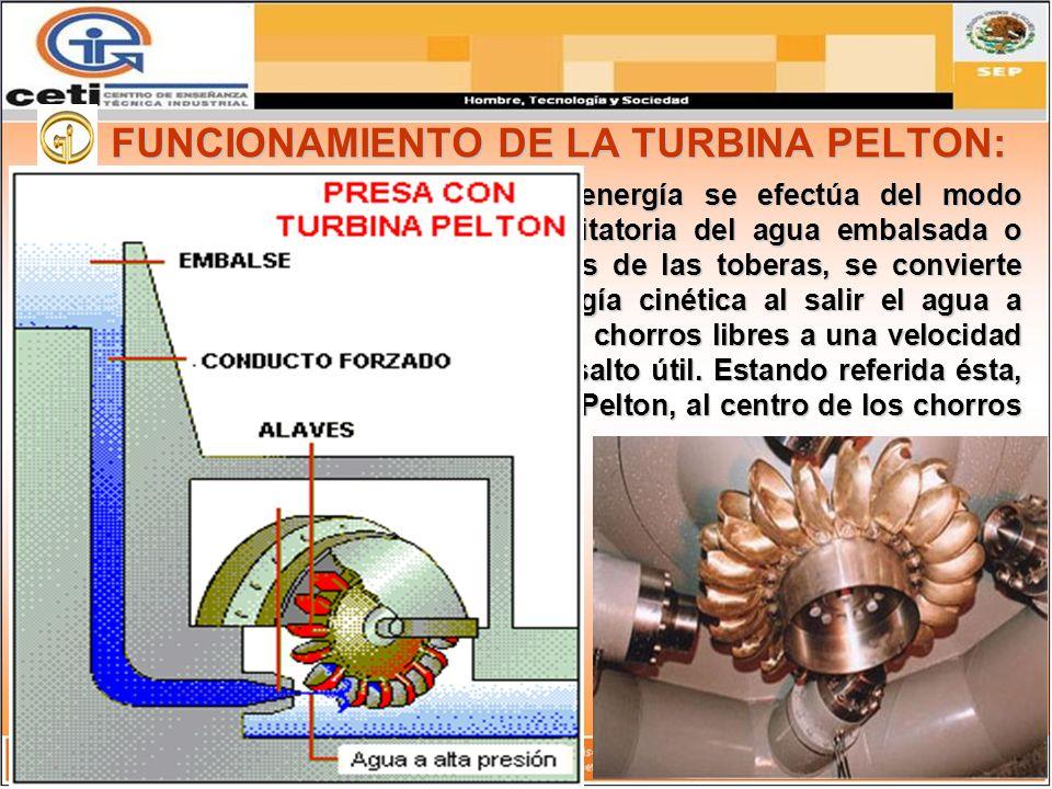 FUNCIONAMIENTO DE LA TURBINA PELTON:
