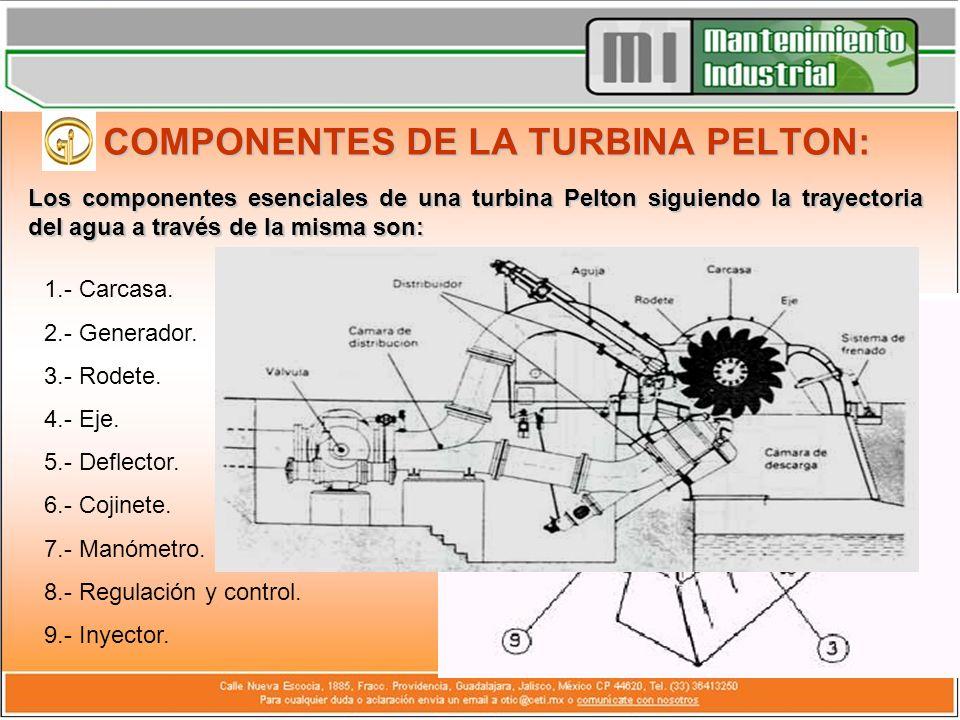 COMPONENTES DE LA TURBINA PELTON: