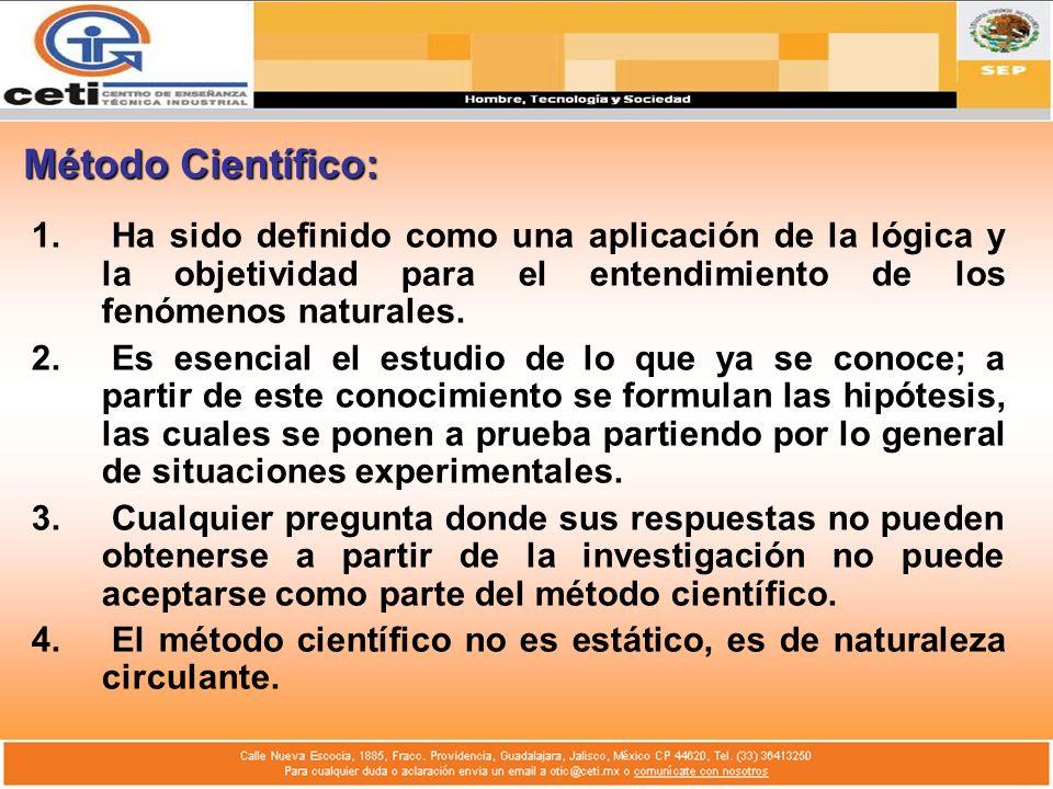 Método Científico:Ha sido definido como una aplicación de la lógica y la objetividad para el entendimiento de los fenómenos naturales.