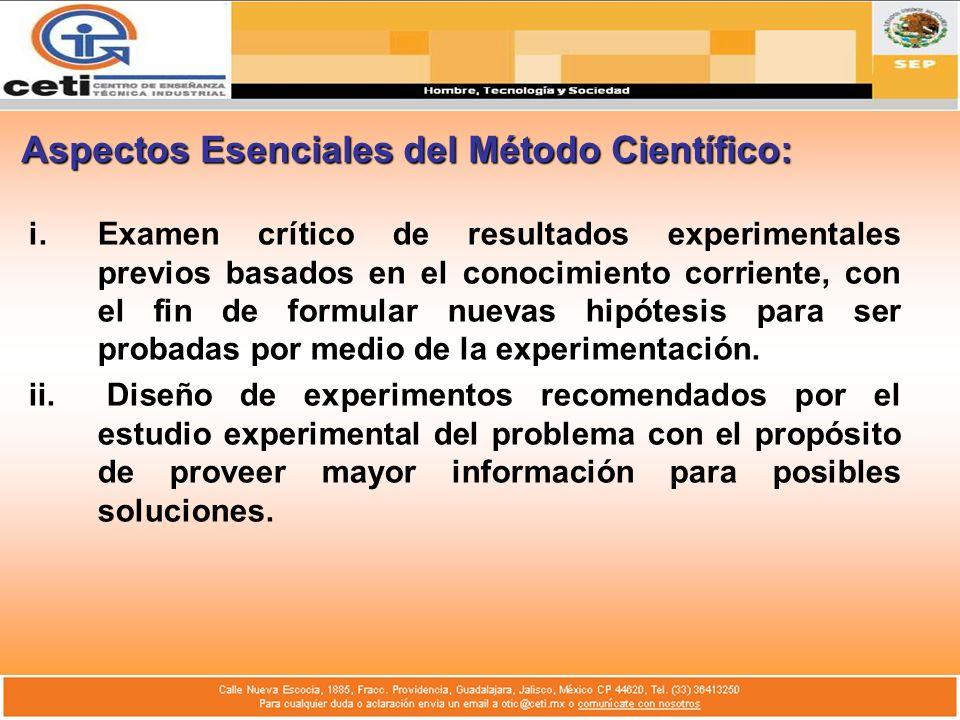 Aspectos Esenciales del Método Científico: