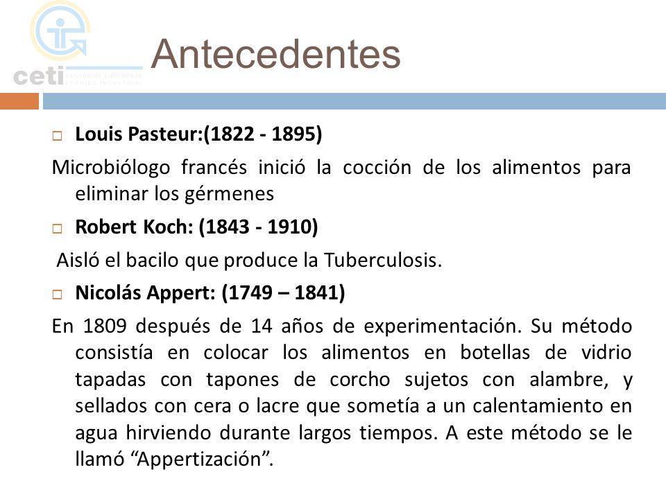 Antecedentes Louis Pasteur:(1822 - 1895)