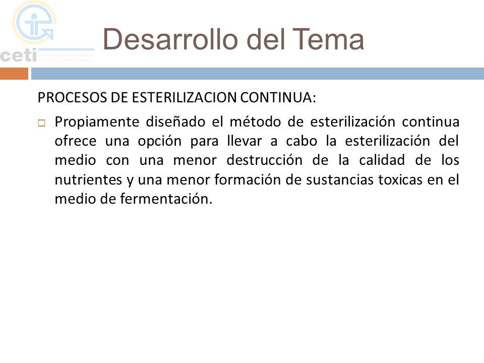Desarrollo del Tema PROCESOS DE ESTERILIZACION CONTINUA: