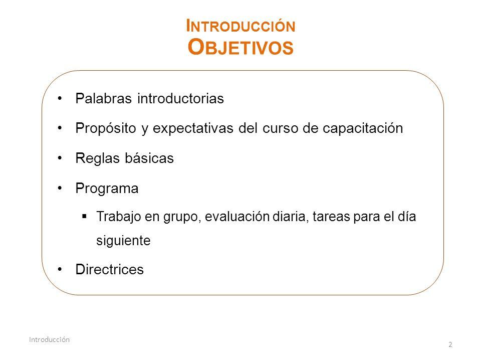 Objetivos Introducción Palabras introductorias
