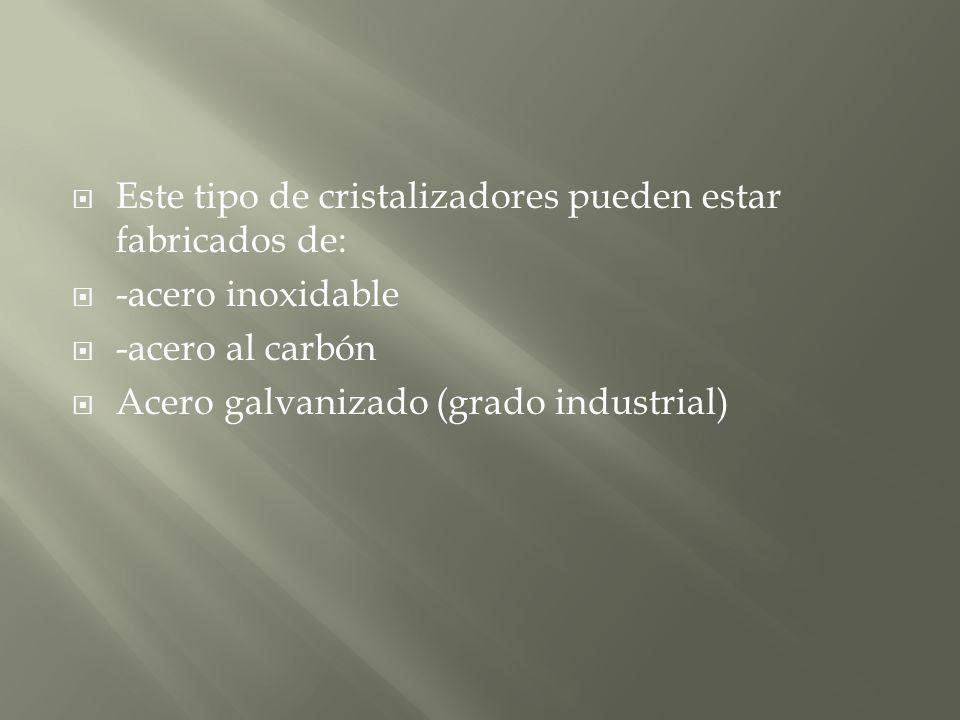 Este tipo de cristalizadores pueden estar fabricados de: