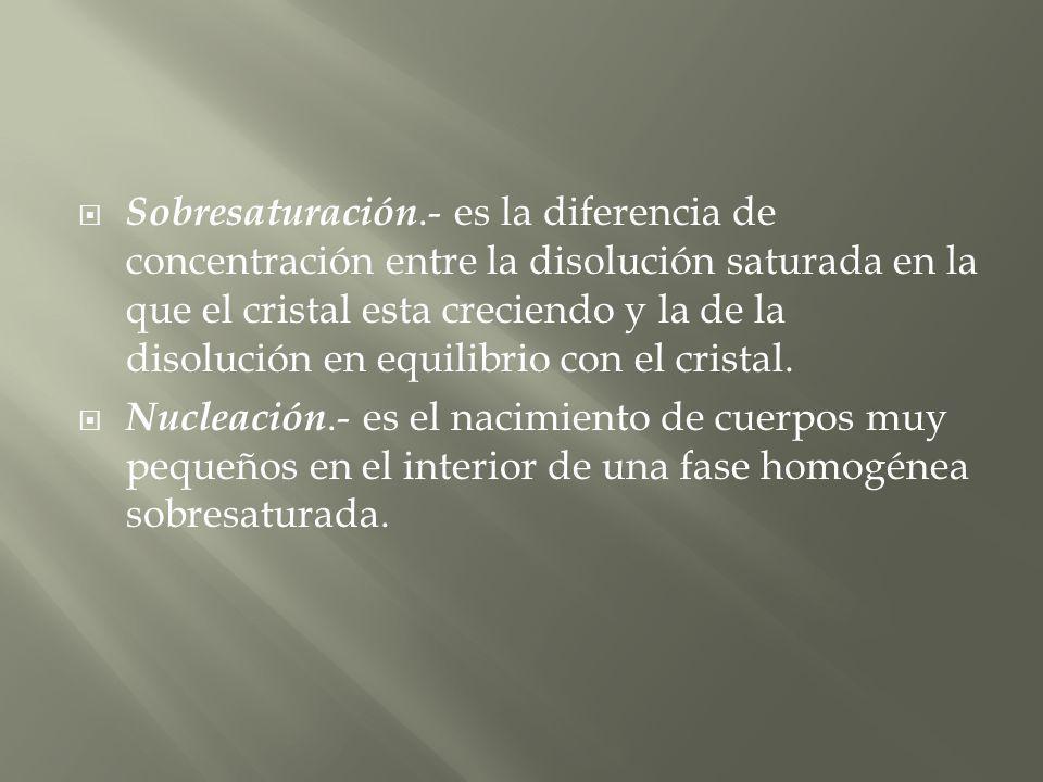 Sobresaturación.- es la diferencia de concentración entre la disolución saturada en la que el cristal esta creciendo y la de la disolución en equilibrio con el cristal.
