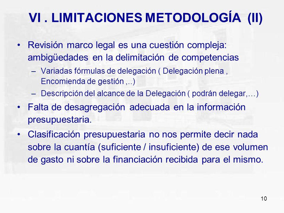 VI . LIMITACIONES METODOLOGÍA (II)