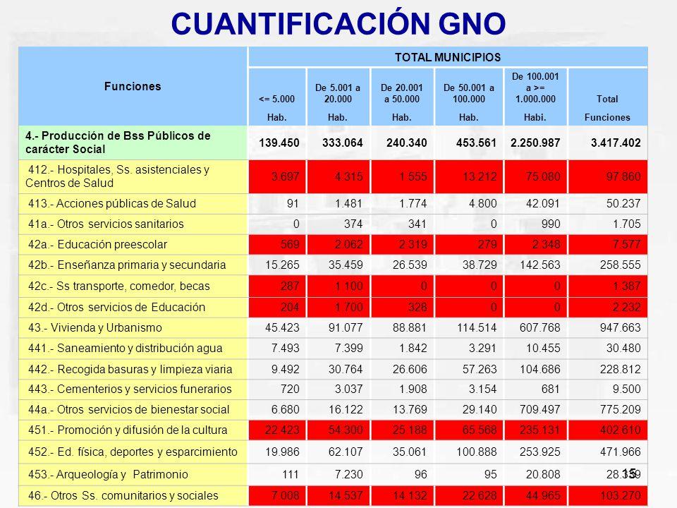 CUANTIFICACIÓN GNO Funciones TOTAL MUNICIPIOS