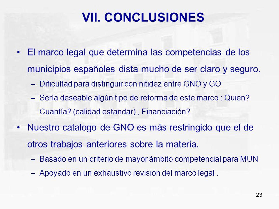 VII. CONCLUSIONES El marco legal que determina las competencias de los municipios españoles dista mucho de ser claro y seguro.