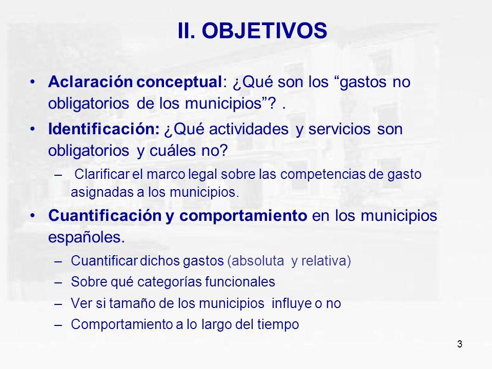 II. OBJETIVOS Aclaración conceptual: ¿Qué son los gastos no obligatorios de los municipios .