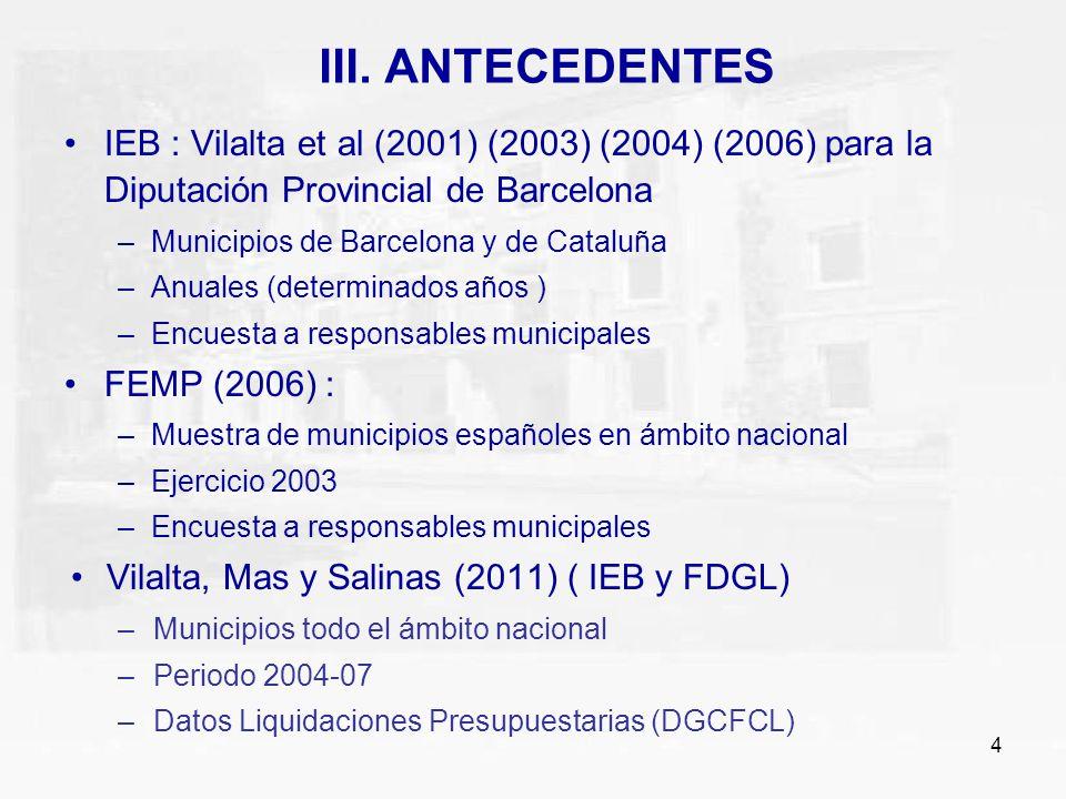 III. ANTECEDENTES IEB : Vilalta et al (2001) (2003) (2004) (2006) para la Diputación Provincial de Barcelona.