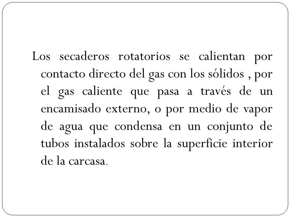 Los secaderos rotatorios se calientan por contacto directo del gas con los sólidos , por el gas caliente que pasa a través de un encamisado externo, o por medio de vapor de agua que condensa en un conjunto de tubos instalados sobre la superficie interior de la carcasa.