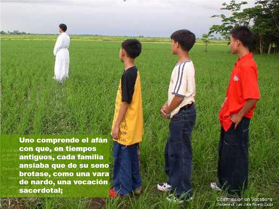 Uno comprende el afán con que, en tiempos antiguos, cada familia ansiaba que de su seno brotase, como una vara de nardo, una vocación sacerdotal;