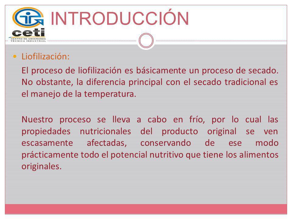 INTRODUCCIÓN Liofilización: