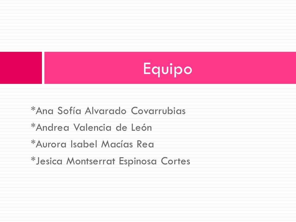 Equipo *Ana Sofía Alvarado Covarrubias *Andrea Valencia de León
