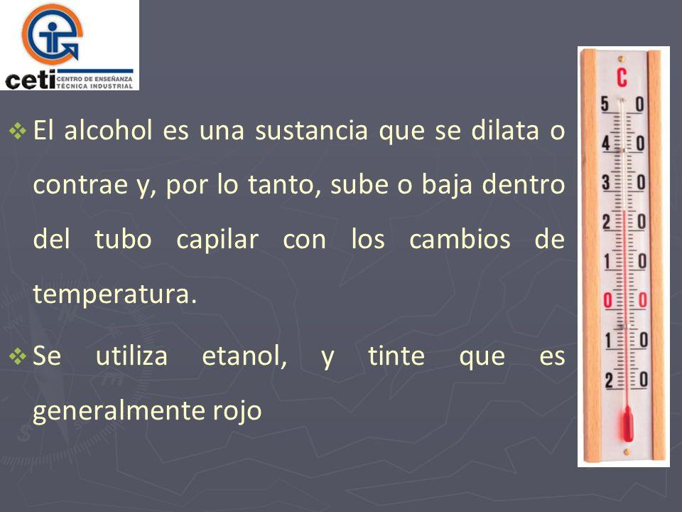 El alcohol es una sustancia que se dilata o contrae y, por lo tanto, sube o baja dentro del tubo capilar con los cambios de temperatura.