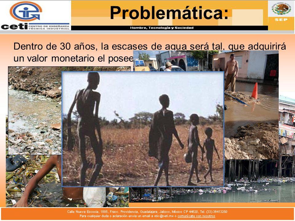 Problemática:Dentro de 30 años, la escases de agua será tal, que adquirirá un valor monetario el poseer agua bebible.