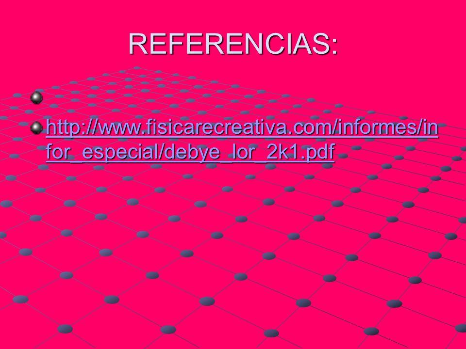 REFERENCIAS: http://www.fisicarecreativa.com/informes/infor_especial/debye_lor_2k1.pdf