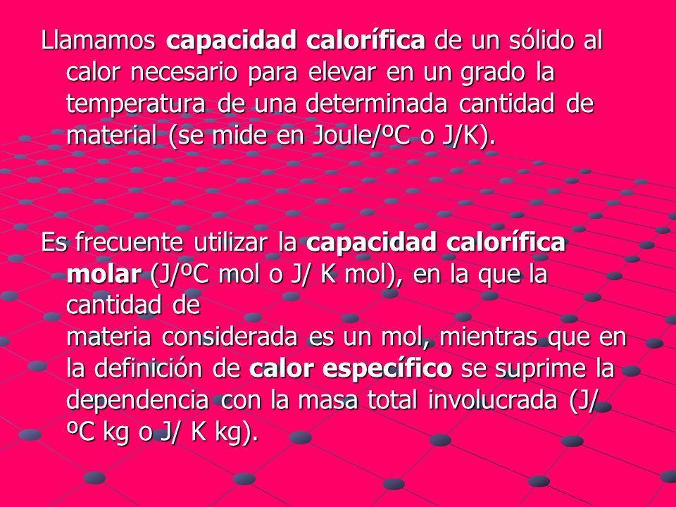 Llamamos capacidad calorífica de un sólido al calor necesario para elevar en un grado la temperatura de una determinada cantidad de material (se mide en Joule/ºC o J/K).