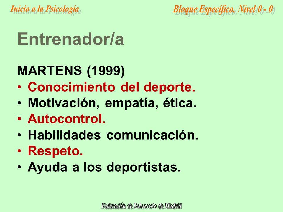 Entrenador/a MARTENS (1999) Conocimiento del deporte.