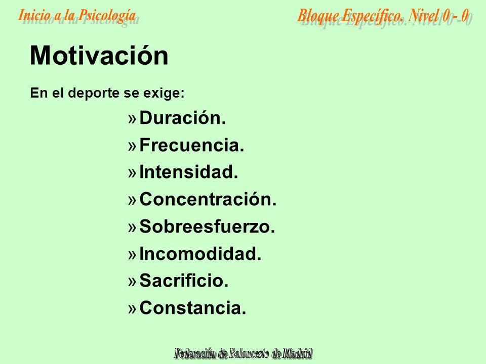 Motivación Duración. Frecuencia. Intensidad. Concentración.