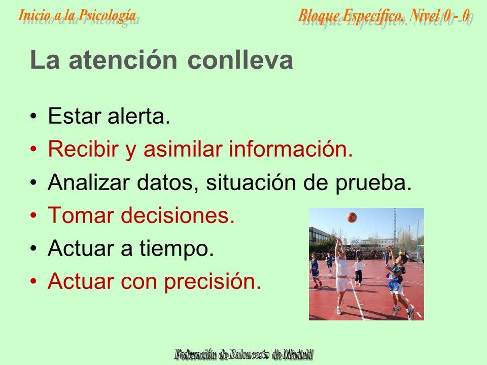La atención conlleva Estar alerta. Recibir y asimilar información.