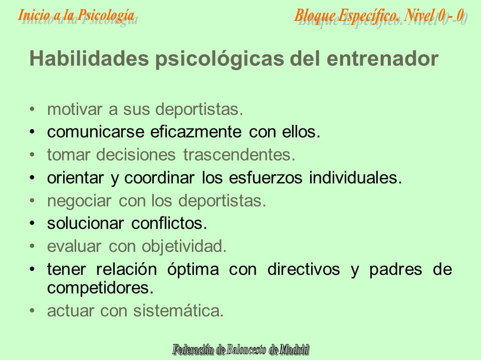 Habilidades psicológicas del entrenador