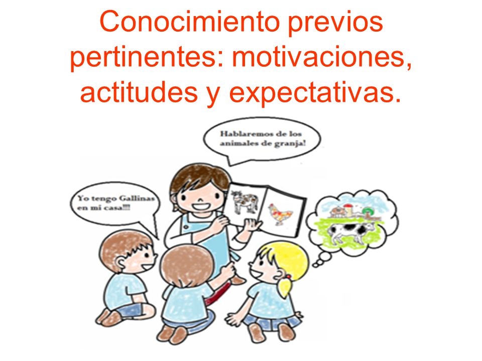 Conocimiento previos pertinentes: motivaciones, actitudes y expectativas.
