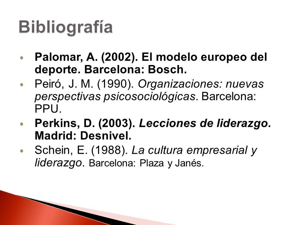 Bibliografía Palomar, A. (2002). El modelo europeo del deporte. Barcelona: Bosch.