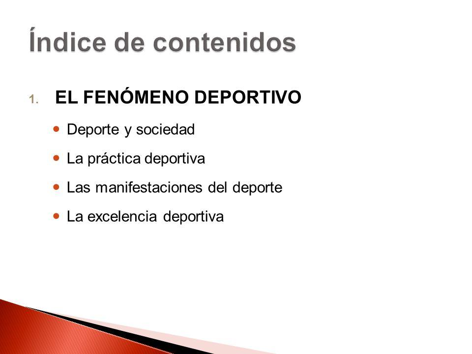 Índice de contenidos EL FENÓMENO DEPORTIVO Deporte y sociedad