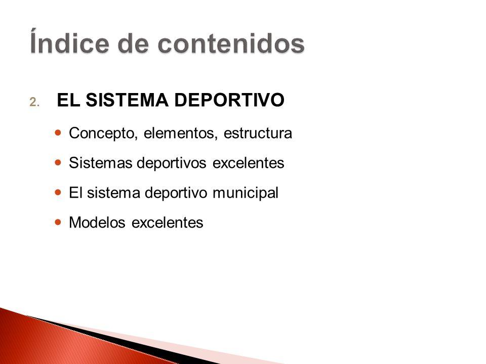 Índice de contenidos EL SISTEMA DEPORTIVO