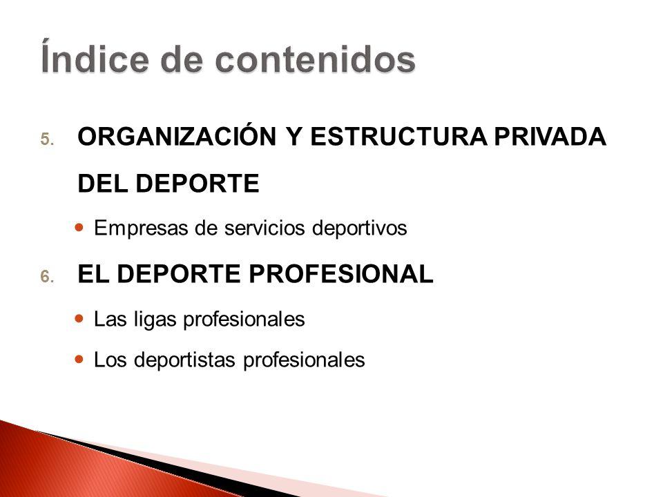 Índice de contenidos ORGANIZACIÓN Y ESTRUCTURA PRIVADA DEL DEPORTE