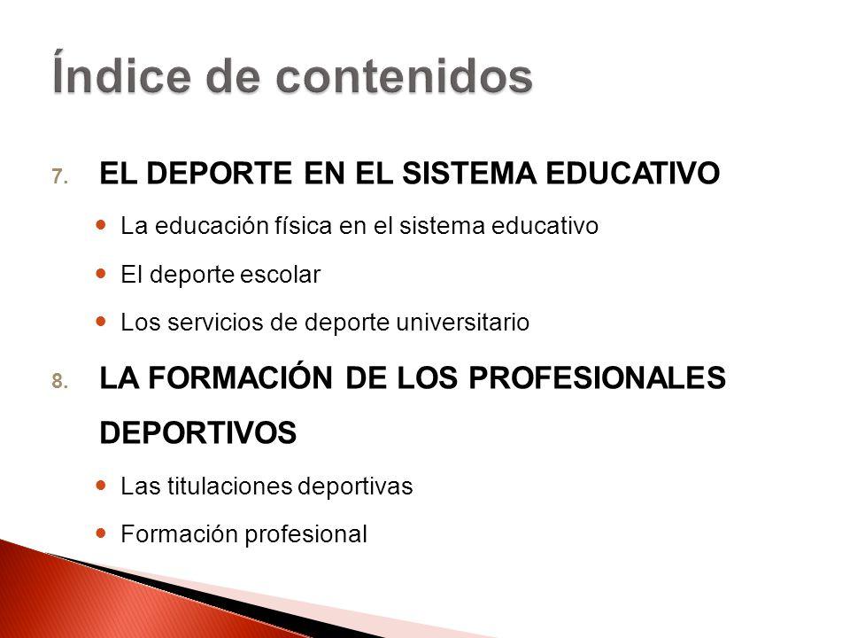 Índice de contenidos EL DEPORTE EN EL SISTEMA EDUCATIVO
