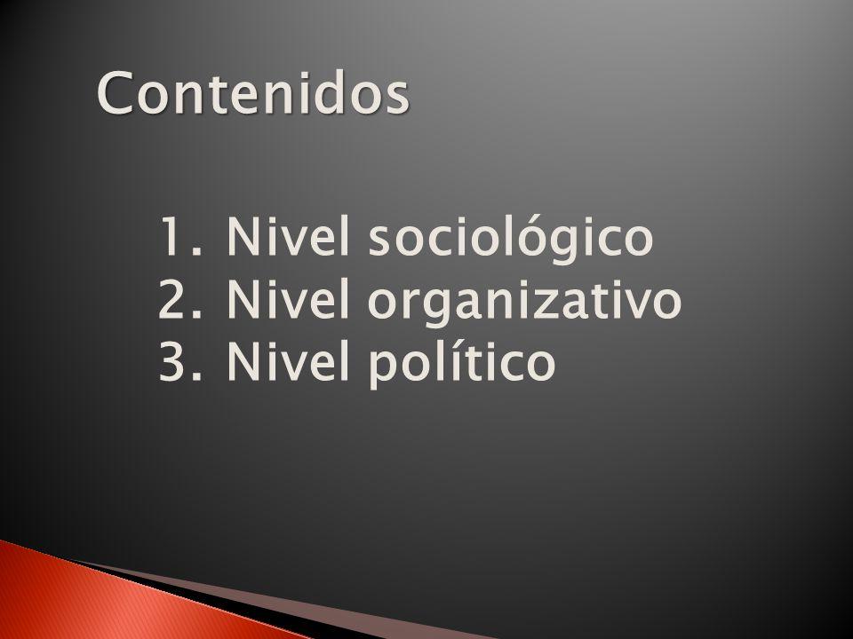 Contenidos Nivel sociológico Nivel organizativo Nivel político