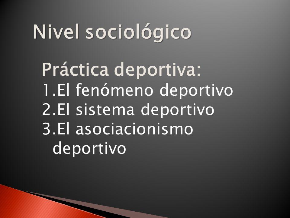 Nivel sociológico Práctica deportiva: El fenómeno deportivo